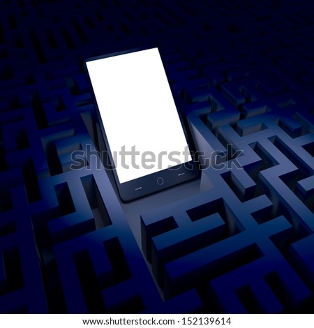Phone in the dark labyrinth - stock photo