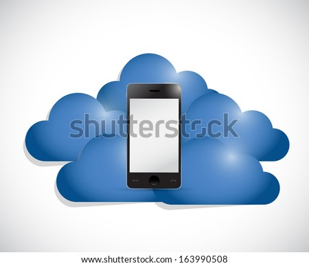 phone in the middle of a set of clouds. illustration design over white