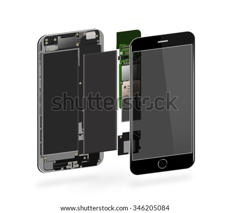 Phone inside isolated, chip, motherboard, processor, cpu and details. Smartphone component repair. Cellphone chipset constitution. Telephone scecification. Broken device mending. Computer disassembled - stock photo