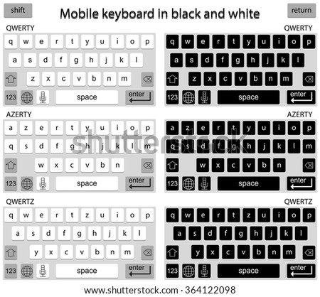 Phone keyboard in black and white, smart phone keypad, mobile phone key text - stock photo