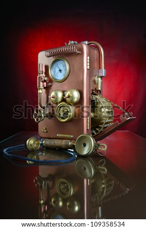 Phone on a red background. Style Steampunk. - stock photo