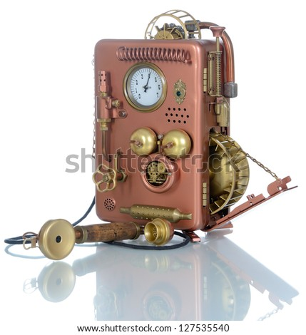 Phone on a white background. Style Steampunk. - stock photo