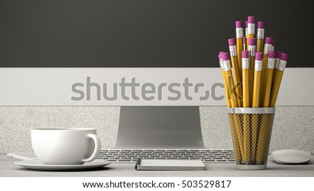 phone on a wooden table, coffee and notebook 3d illustration