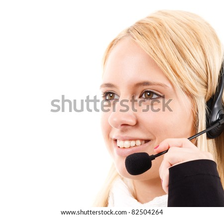 Phone operator helping a customer - stock photo