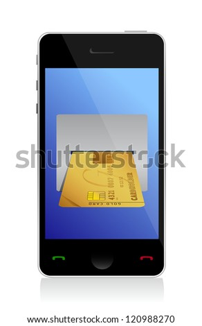 phone purchasing by credit cart illustration design over white - stock photo