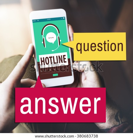 Phone Question Answer Technology Concept - stock photo