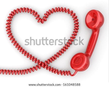 Phone reciever and cord as heart. Love hotline concept. 3d - stock photo