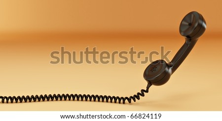 Phone reciever on yellow isolated background. 3d - stock photo