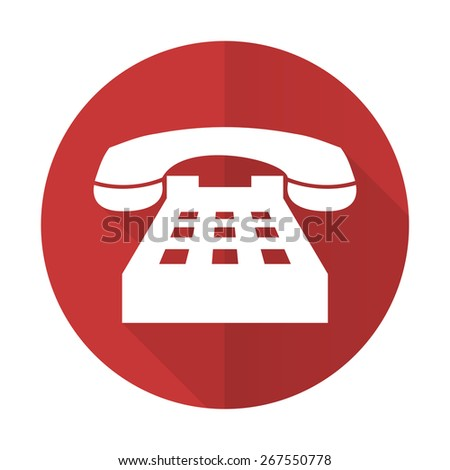 phone red flat icon telephone sign  - stock photo