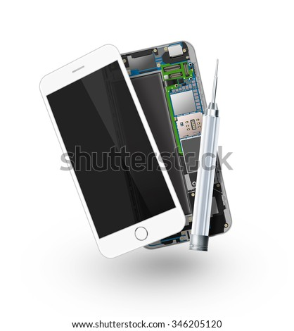 Phone repair icon isolated, chip, motherboard, processor, cpu and details. Smartphone component repairing. Cellphone mending. Telephone pcb, rom data. Broken device mending. Motherboard disassembled.