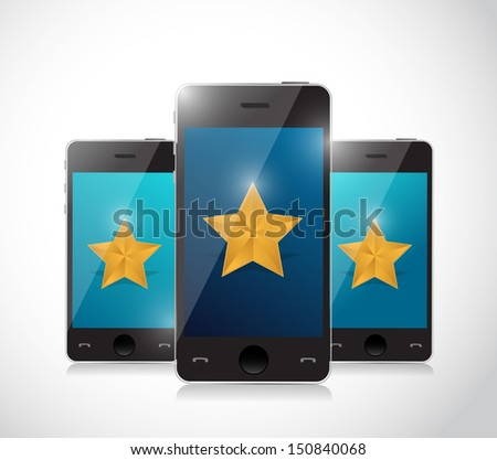 phone review concept illustration design over a white background - stock photo