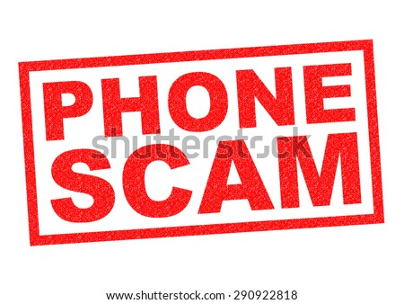 PHONE SCAM red Rubber Stamp over a white background. - stock photo