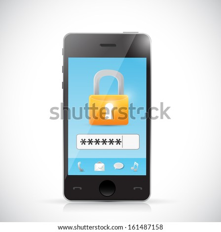 phone secure login protection concept illustration design over a white background - stock photo