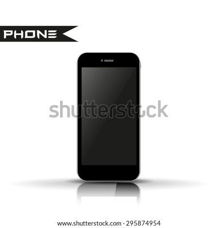 Phone smartphone with reflection  illustration - stock photo