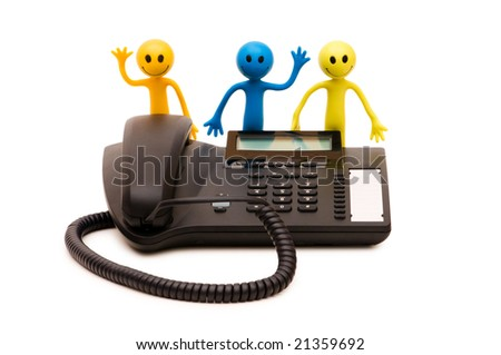 Phone support concept  - smile and receiver isolated on white - stock photo