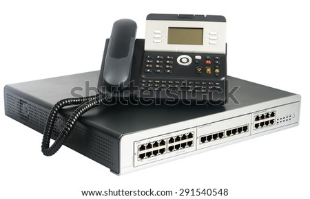 Phone switch system and digital telephone isolated on the white - stock photo