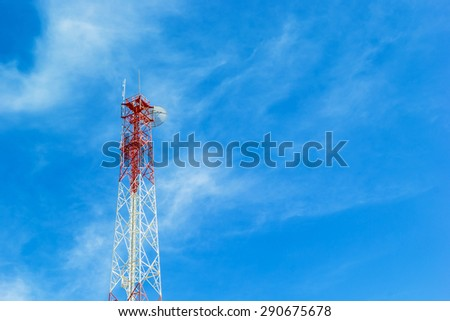 Phone tower antenna with Cloud and blue sky background - stock photo