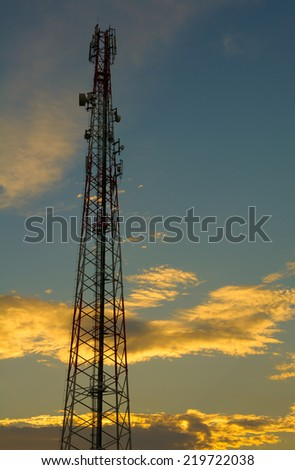 phone tower in sunset