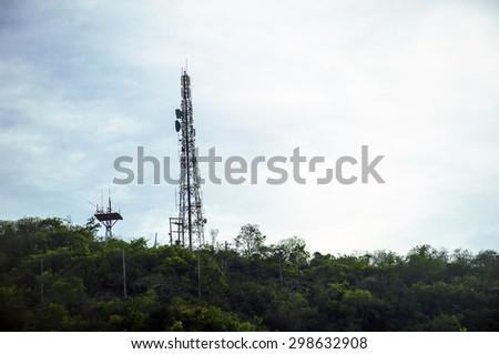 Phone transmission towers on the mountain - stock photo