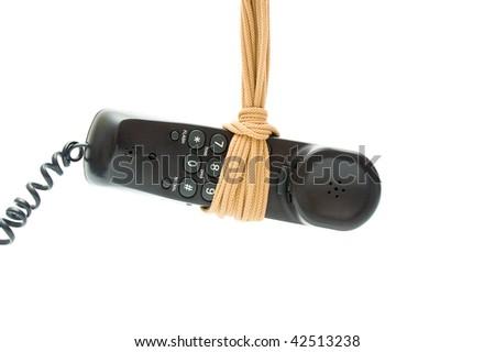 Phone tube on rope noose - stock photo