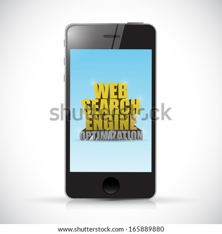 phone web search engine optimization sign illustration design over a white background - stock photo