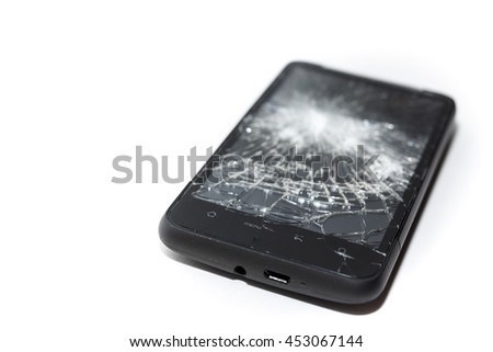 Phone with a shattered screen. Dropped phone, insurance claim