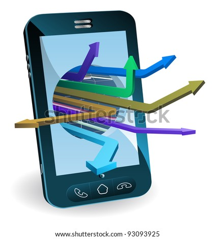 Phone with arrows coming out of screen. Technology concept.