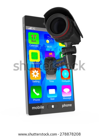 phone with camera on white background. Isolated 3D image - stock photo