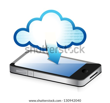 phone with cloud computing symbol on a screen illustration design - stock photo