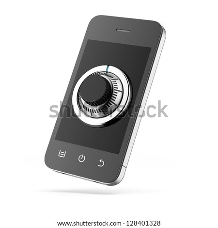 phone with combination Lock - stock photo