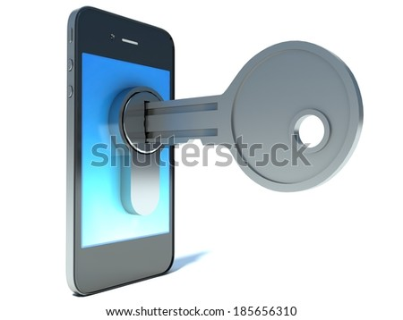 Phone with key - stock photo