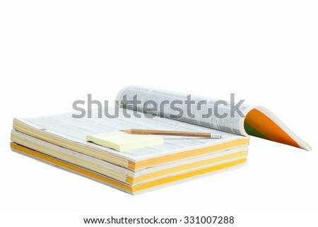Phonebook with pen and sticker isolated on white background - stock photo