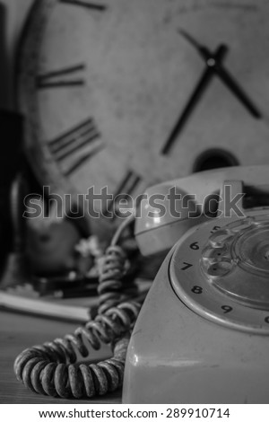 phones and background vintage black and white. - stock photo