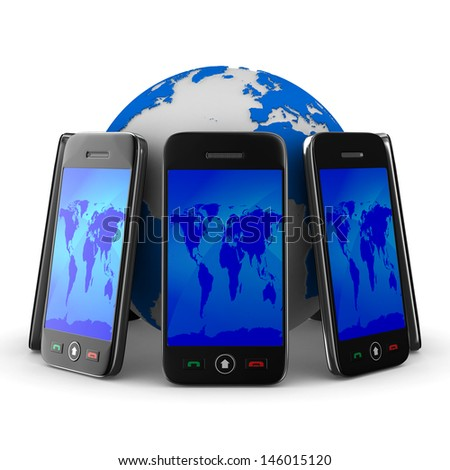 phones and globe on white background. Isolated 3D image - stock photo