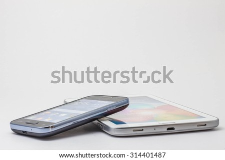 phones and tablets on a white background.