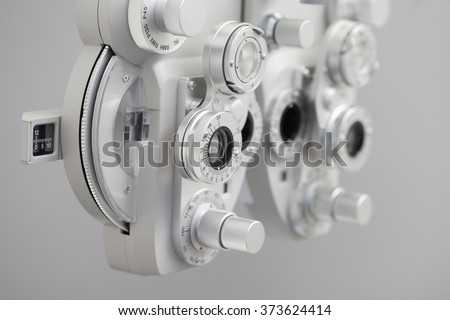 Phoropter, ophthalmic testing device machine - stock photo