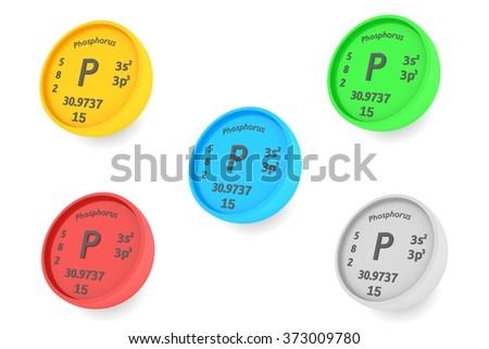 Phosphorus chemical element symbol set - stock photo