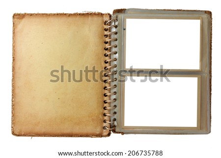 photo album, opened with two pictures, isolated on white - stock photo