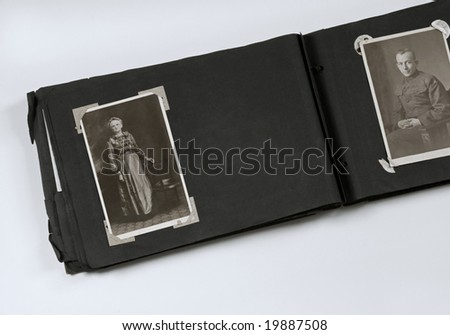 Photo Album with Mother and Military Son - stock photo