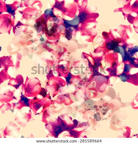 photo and watercolour seamless pattern with flowers - digital artwork - stock photo