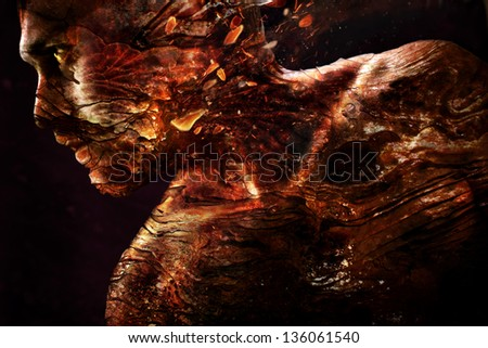 photo art. Portrait of a man with a burning texture of the skin