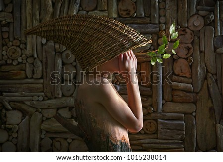 Photo-art with girl and wood.