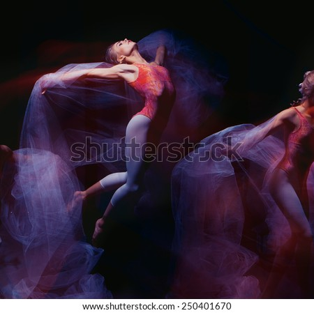 photo as art - a sensual and emotional dance of beautiful ballerina through the veil on a dark background - stock photo