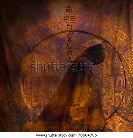 Photo basedillustration of a cloaked woman with the tibetan prayer Om Mani Padme Hum. - stock photo