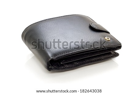 Photo beautiful black leather men purse on a white background. - stock photo
