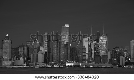 photo beautiful new york cityscape over the hudson - stock photo