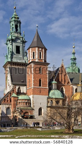 photo beautiful polish architecture from krakow city poland - stock photo