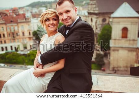 photo beautiful unbelievable young couple - stock photo