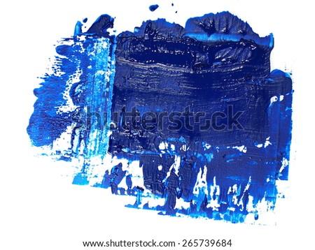 photo blue grunge brush strokes oil paint isolated on white background - stock photo
