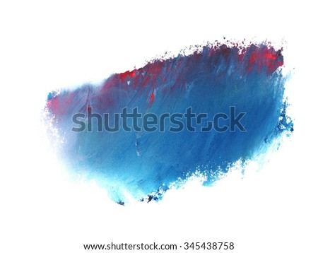 photo blue red grunge brush strokes oil paint isolated on white background - stock photo